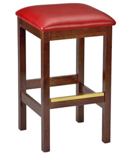 Backless Square Upholstered Seat Wood Bar Stool