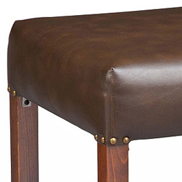 Backless Square Deluxe Upholstered Seat Wood Bar Stool Detail