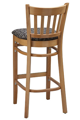 Vertical Slat Back Wood Bar Stool with Upholstered Seat Rear View