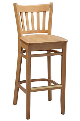 Vertical Slat Back Wood Bar Stool with Wood Seat