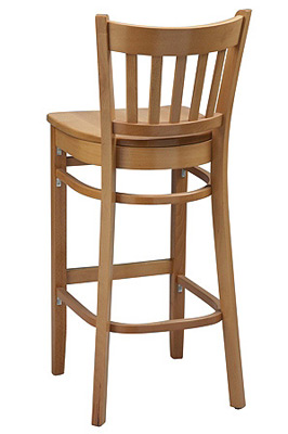 Vertical Slat Back Wood Bar Stool with Wood Seat Rear View