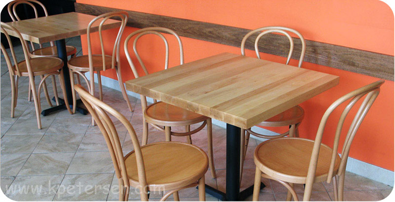 Wood Restaurant Tables Installation