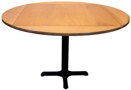 Wood Veneer Dropleaf Restaurant Table Round